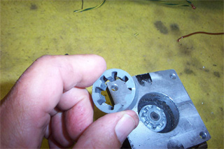 Plastic coupler removed from gearbox